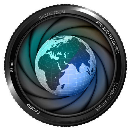 Africa earth globe in shutter ready to snapshot isolated vector illustration Vector