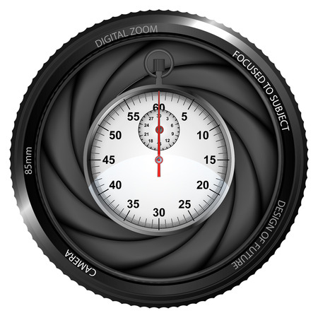 snapshot: stopwatch in shutter ready to snapshot isolated vector illustration