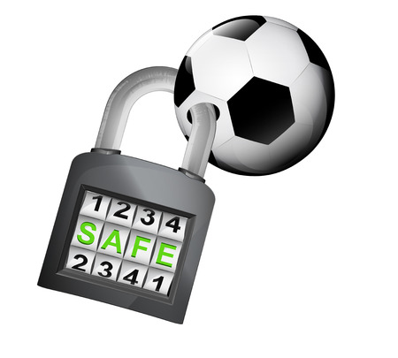 football ball caught in security closed padlock isolated vector illustration Vector