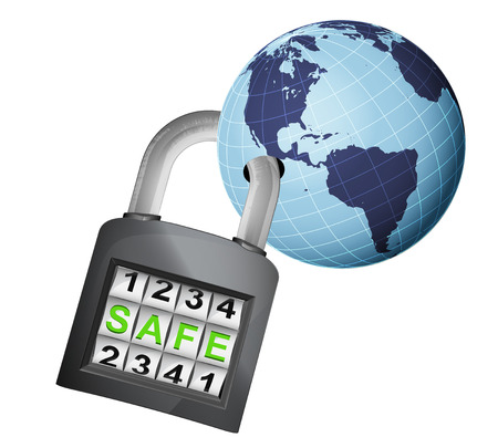 America earth globe caught in security closed padlock isolated vector illustration Vector