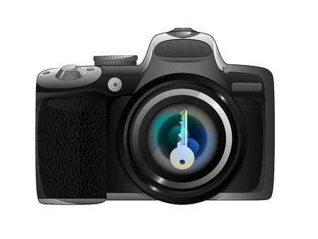 photo key in camera focus ready to snapshot isolated vector illustration Vector