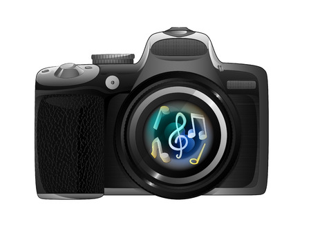 snapshot: camera focus ready to snapshot musical moments isolated illustration