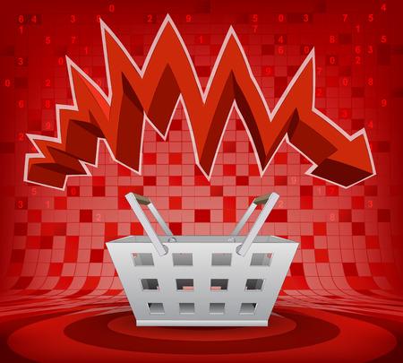 descending: trade basket under red descending zig zag arrow vector illustration