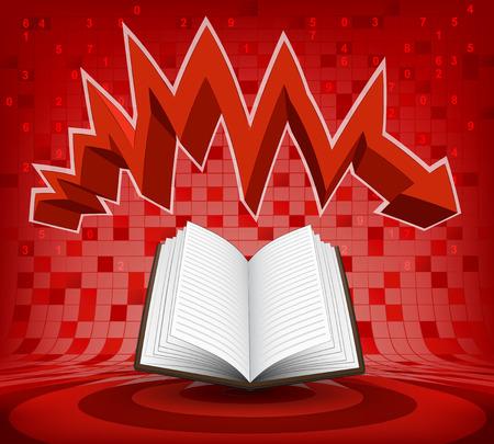 descending: open book under red descending zig zag arrow vector illustration