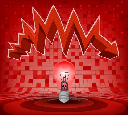 descending: warning  bulb under red descending zig zag arrow vector illustration