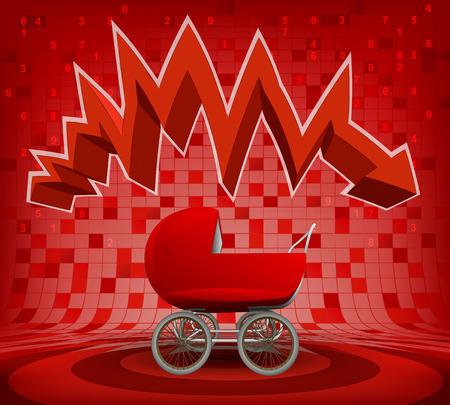 descending: baby pushchair under red descending zig zag arrow vector illustration Illustration