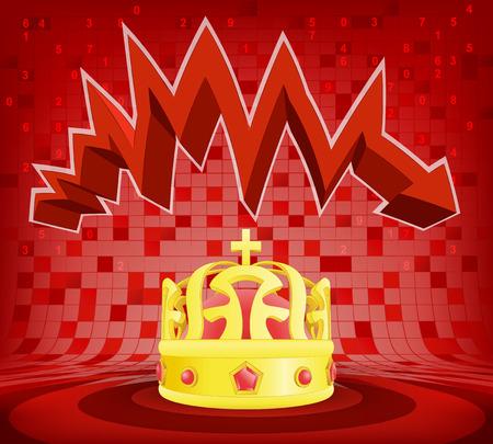 descending: royal  crown under red descending zig zag arrow vector illustration