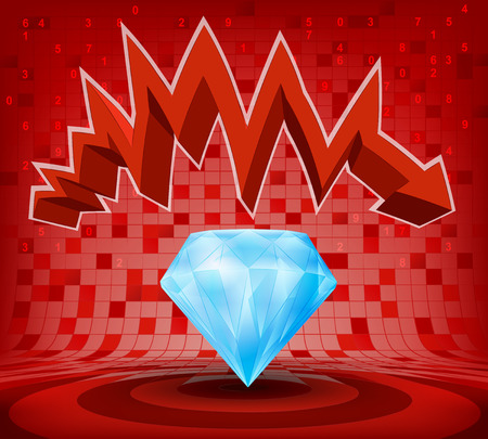 descending: blue diamond under red descending zig zag arrow vector illustration