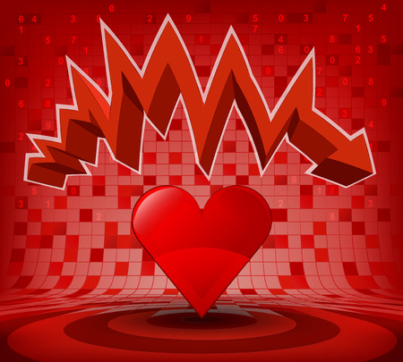 heart under: red heart under red descending zig zag arrow vector illustration