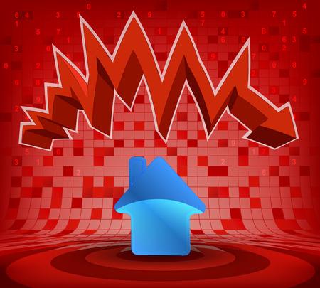 descending: house icon under red descending zig zag arrow vector illustration