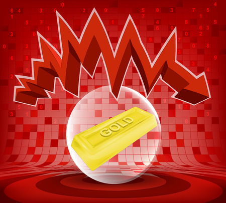 gold goods under red descending zig zag arrow vector illustration Vector