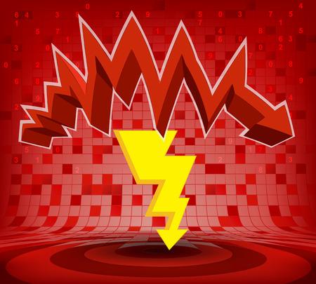 descending: strike under red descending zig zag arrow vector illustration Illustration