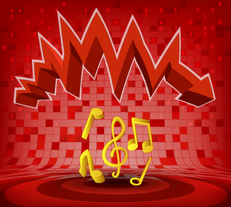 descending: music signs under red descending zig zag arrow vector illustration