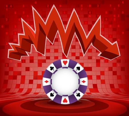 roulette online: poker chip under red descending zig zag arrow vector illustration