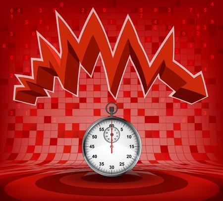 descending: stopwatch under red descending zig zag arrow vector illustration