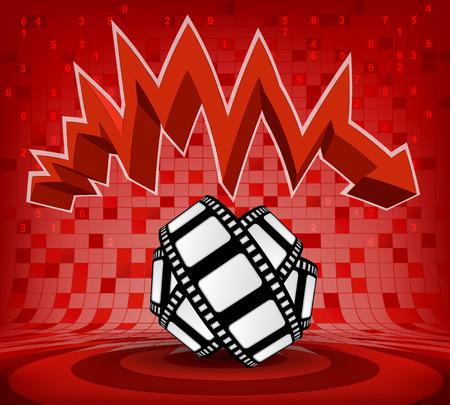 descending: movie tape under red descending zig zag arrow vector illustration