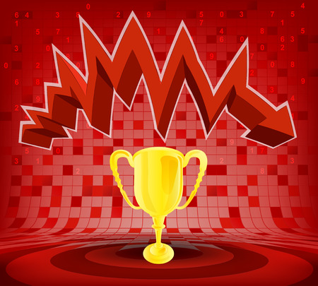 descending: winner cup under red descending zig zag arrow vector illustration Illustration