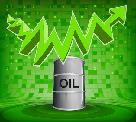 oil barrel under green rising zig zag arrow vector illustration Vector