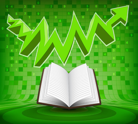 open book under green rising zig zag arrow vector illustration Vector