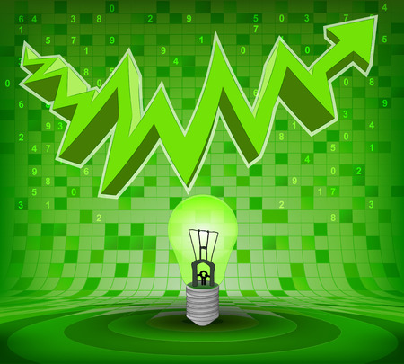 green bulb under green rising zig zag arrow vector illustration Vector