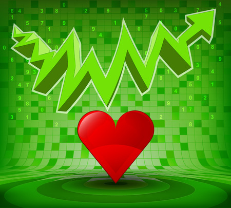 heart under: red heart under green rising zig zag arrow vector illustration