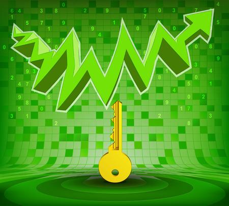 gain access: golden key under green rising zig zag arrow vector illustration Illustration