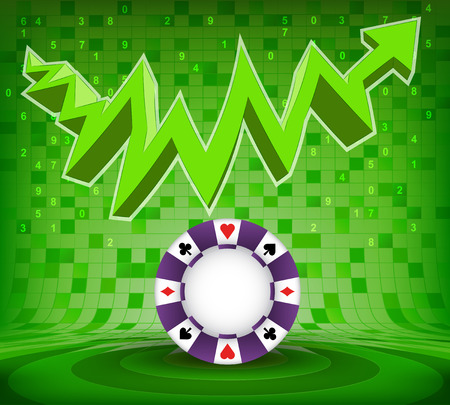 poker chip under green rising zig zag arrow vector illustration Vector