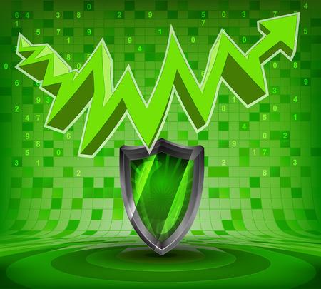 protective shield under green rising zig zag arrow vector illustration