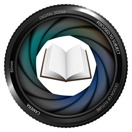 snapshot: open book in shutter ready to snapshot isolated vector illustration Illustration