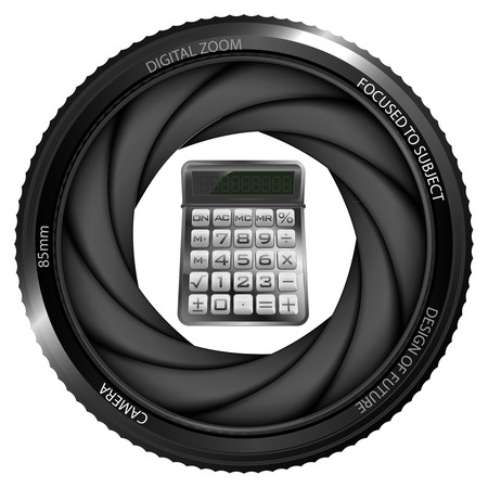 calculator in shutter ready to snapshot isolated vector illustration