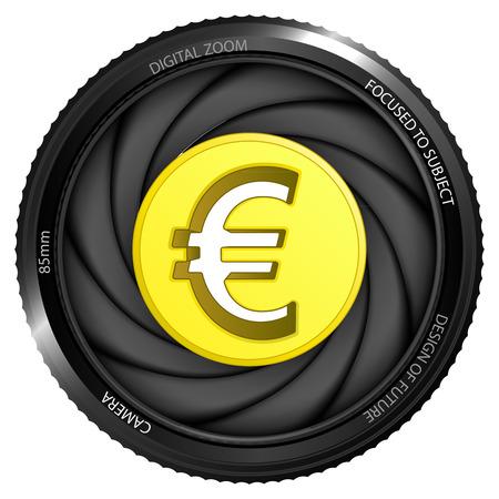 snapshot: golden Euro coin in shutter ready to snapshot isolated vector illustration Illustration