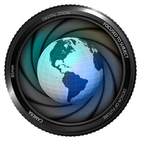 America earth globe in shutter ready to snapshot isolated vector illustration Vector