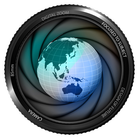 Asia earth globe in shutter ready to snapshot isolated vector illustration Vector