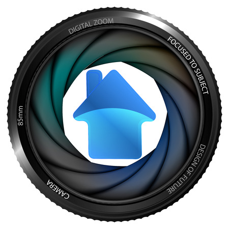 snapshot: house icon in shutter ready to snapshot isolated vector illustration