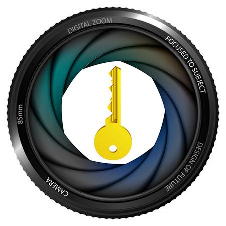 golden key: golden key in shutter ready to snapshot isolated vector illustration