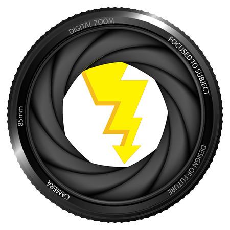 snapshot: flash strike in shutter ready to snapshot isolated vector illustration Illustration