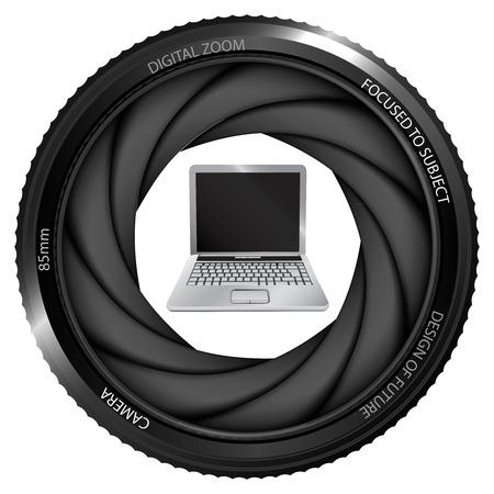 snapshot: new laptop in shutter ready to snapshot isolated vector illustration Illustration