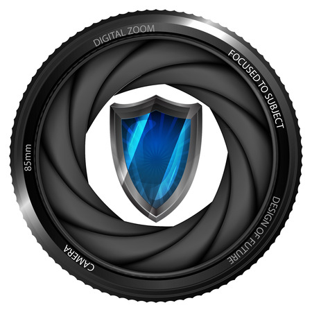 snapshot: protective shield in shutter ready to snapshot isolated vector illustration Illustration