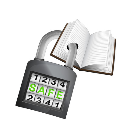 open book caught in security closed padlock isolated vector illustration Vector