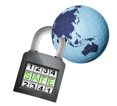 Asia earth globe caught in security closed padlock isolated vector illustration Vector