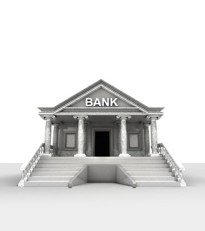 bank building isolated on white in classic style render illustration illustration