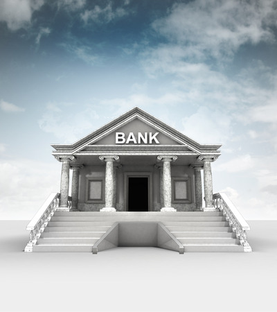 bank building  in classic ionic style with sky illustration illustration
