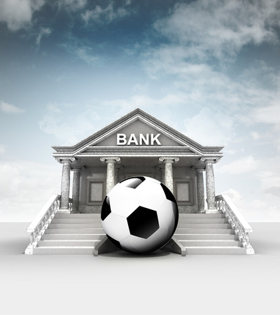 football ball in front of bank in classic style with sky illustration illustration