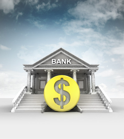 treasury: golden Dollar coin in front of bank in classic style with sky illustration
