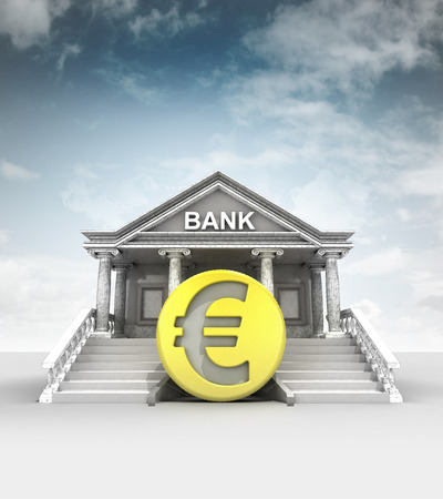 golden Euro coin in front of bank in classic style with sky illustration illustration