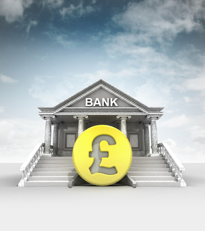 golden Pound coin in front of bank in classic style with sky illustration illustration