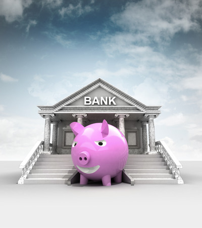 treasury: happy pig in front of bank in classic style with sky illustration