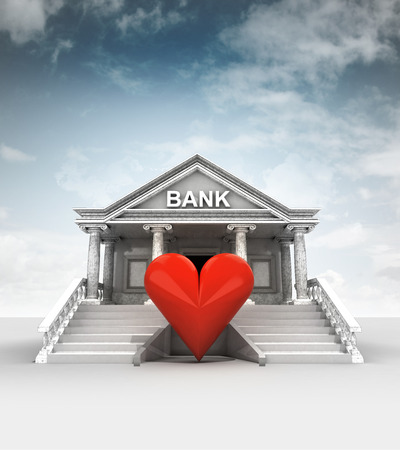 office romance: red heart in front of bank in classic style with sky illustration