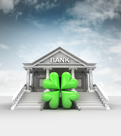 felicity: cloverleaf happiness in front of bank in classic style with sky illustration