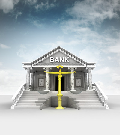 fair trade weight in front of bank in classic style with sky illustration illustration